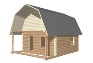 проект сруба дома 6 на 6 с верандой и ломанной крышей (2)