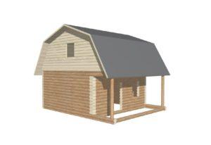 проект сруба дома 6 на 6 с верандой и ломанной крышей (3)