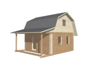 проект сруба дома 6 на 6 с верандой и ломанной крышей