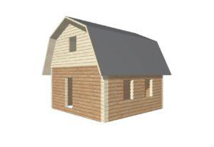 проект сруба дома 6 на 6 с ломанной крышей