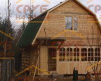 Сруб бани 3 на 5 с верандой и ломаной крышей