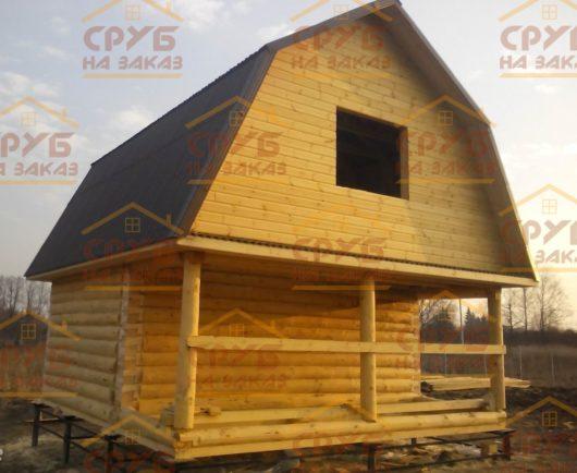 Сруб бани 3 на 6 с верандой и ломаной крышей