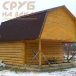 сруб бани 4 на 6 с верандой и ломаной крышей
