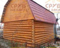 Сруб бани 5 на 5 с ломаной крышей