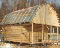 Сруб бани 6 на 6 с верандой и ломаной крышей
