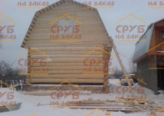 Сруб бани 6 на 6 с ломаной крышей