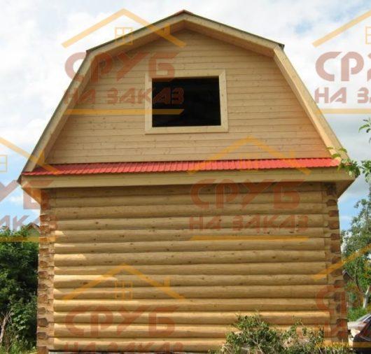 Сруб дома 4 на 5 с ломаной крышей