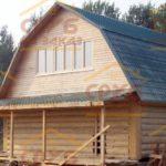сруб дома 6х6 с верандой и ломаной крышей