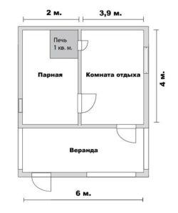 Проект сруба бани 4 на 6 с верандой