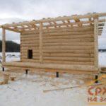 Сборка сруба бани 4 на 6 из зимнего леса