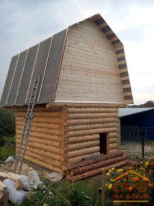 Сруб бани 3 на 4 с ломаной крышей