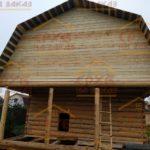 Сруб бани 6 на 6 метров с верандой и ломаной крышей