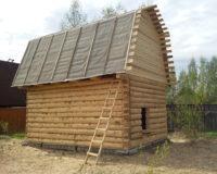 Сруб дома 4 на 6 с ломаной крышей
