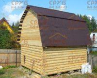 Сруб бани 4 на 6 с ломаной крышей